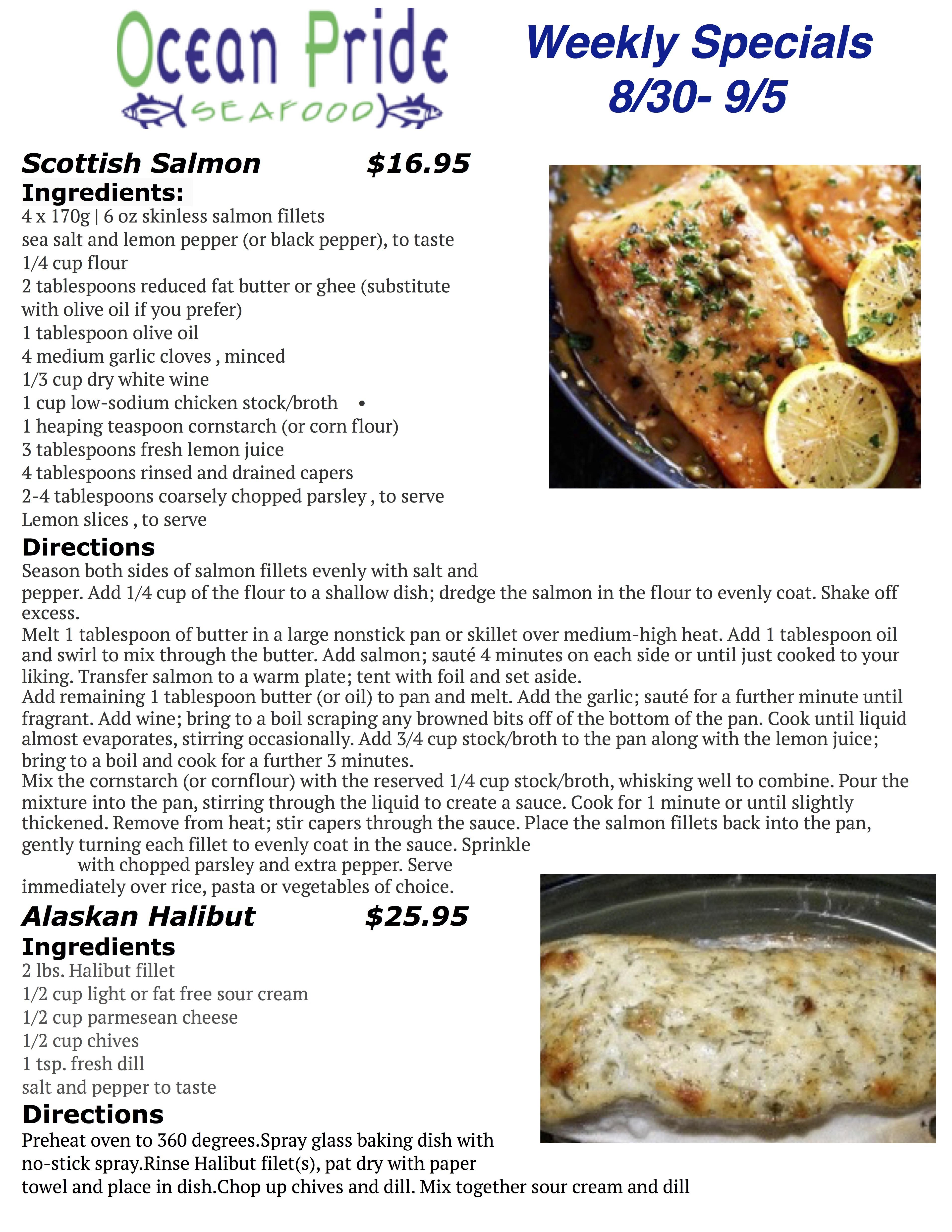 Ocean Pride Seafood Specials 8.30 - 9.5