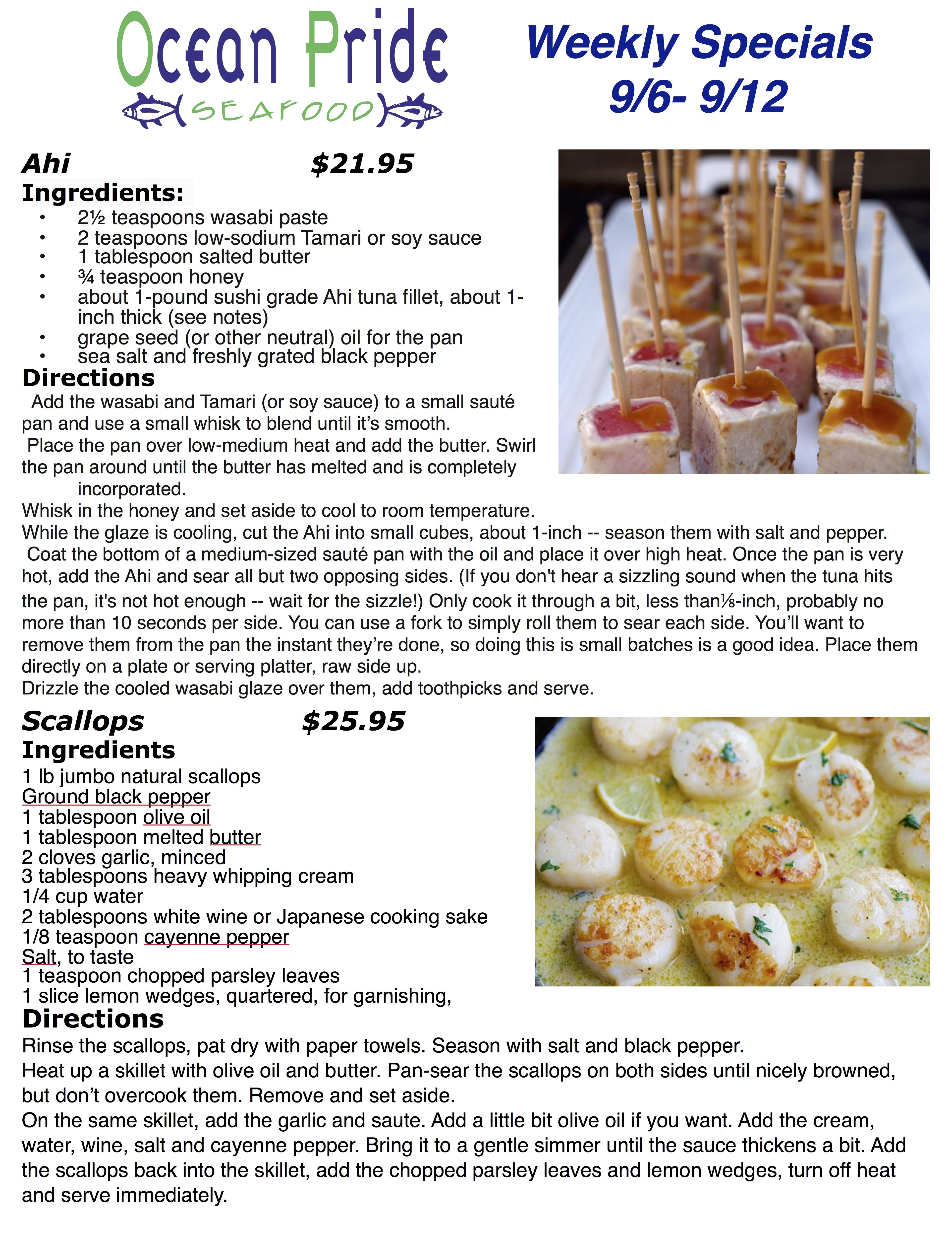 Ocean Pride Seafood Specials 9.6 - 9.12